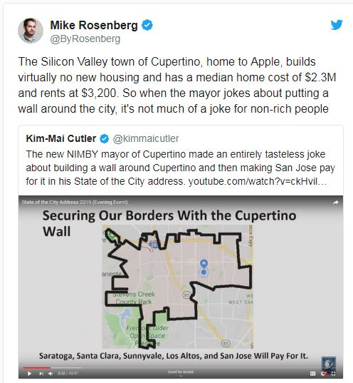Mercury News: Cupertino mayor: City will build wall and San Jose